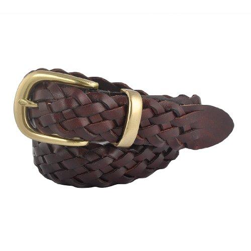 Eimbory Women Italian Calfskin Leather Braid Brown Woven Couple Belt Medium