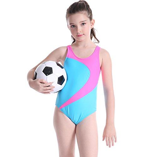 TenMet Girl's Swimwear Swimsuit Monokini Kids Beachwear Backless Elastic Bathing Suit Anti UV Surfing Sporty by TenMet