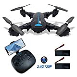 2.4G FPV GPS Drone Auto Return Home with 720P HD Wide Angle Camera Foldable RC Quadcotper for Kids Beginners with Live Video Follow Me Altitude Hold Headless Mode 2 Batteries 30Mins Flight(2.4G 720P)