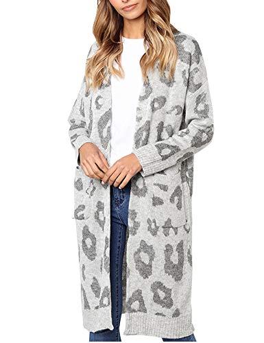 Relipop Women's Overcoat Leopard Long Sleeve Knitted Sweater Long Cardigan Outwear (Small, Grey) ()