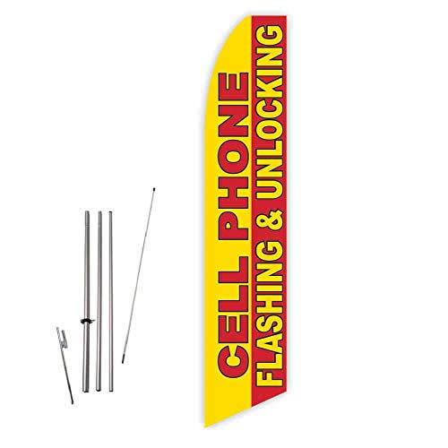 Cell Phone Flashing & Unlocking (Yellow/Red) Super Novo Feather Flag - Complete with 15ft Pole Set and Ground -