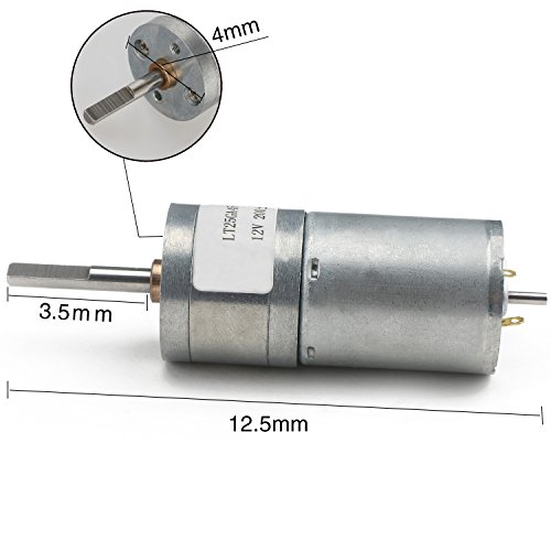 DROK 25GA 370 180RPM DC Gearbox Motor, 12V Small Electric