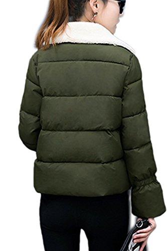 Patchwork elegante corto lana abrigo abrigos de las mujeres Green
