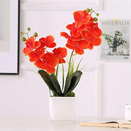 Artifical Flowers with Pot 50cm in Height Artificial Orchid Phalaenopsis Arrangement Flower Bonsai with Vase for Room Table Decoration