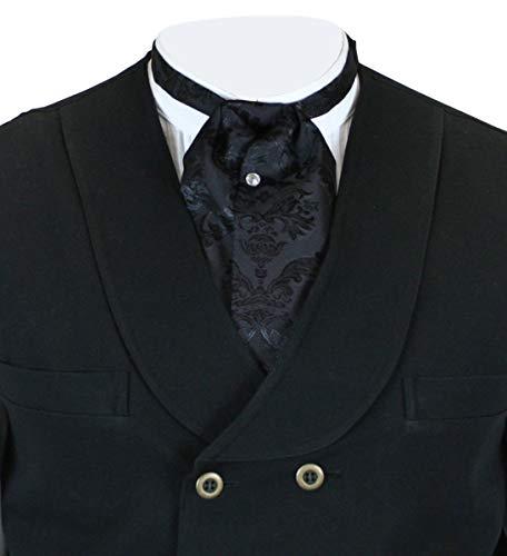 Historical Emporium Men's Satin Jacquard Puff Tie Black ()