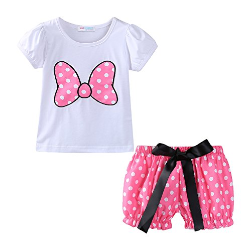 Mud Kingdom Baby Girls Clothes Holiday Cute Short Sets Bow 12M Pink]()