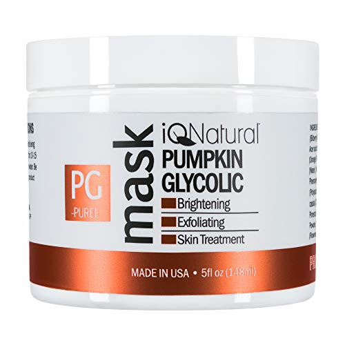 iQ Natural 5oz Pumpkin Glycolic Mask, Cleans & Exfoliates Skin, Spa Quality Facial Peel with AHA Enzyme. - Enzyme Peel Mask