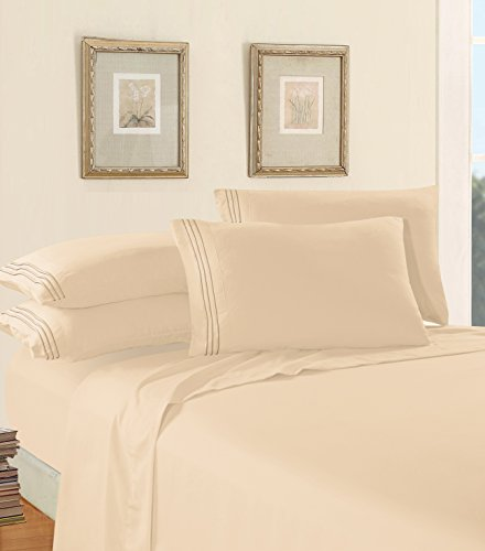 4-Piece Queen- Smart Sheet Set! Luxury Soft 1500 Thread Count Egyptian Quality Wrinkle and Fade Resistant with Side Storage Pockets on Fitted Sheet, Queen, Cream