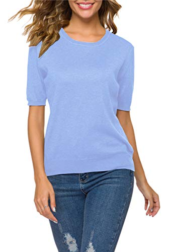 Women's Short Sleeves Cashmere Sweater Tops T Shirt Blouse, Light Blue, Tag L = US S