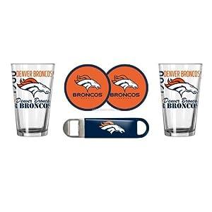 NFL Football Spirit Beer Pints Gift Set - Pint Glasses (2), Vinyl Coasters (2) & Stainless Steel Opener (1) (Broncos)