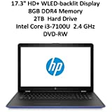 2018 Flagship HP 17.3 HD+ SVA BrightView WLED-backlit Display Notebook | Intel Dual-Core i3-7100U 2.4GHz | 8GB DDR4 | 2TB HDD | Webcam | DVD-RW | WIFI | Bluetooth | Windows 10 | Marine Blue