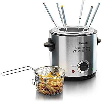 2 en 1 eléctrico de freidora y fondue Acero Inoxidable 6 personas Tenedores de fondue cesta de freír (900 W, termostato regulable., de 1 L)