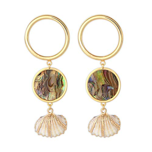LAONATO Scallop Mother of Pearl and Gold Tone Circles Drop Earrings