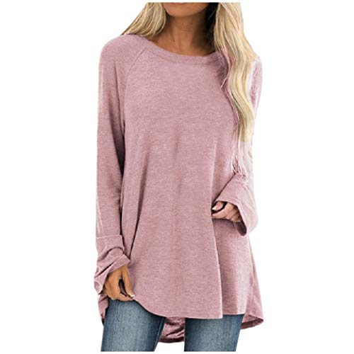Aniywn Women's Plus Size Sweatshirt Tops Ladies Baggy Long Sleeve Thin Solid Pullover Blouse T Shirts(Pink,XL)