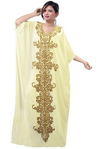 Dubai Very Fancy Kaftan Luxury Crystal Beaded Caftan Abaya Wedding Dress (XXXXL Beige) by Leena