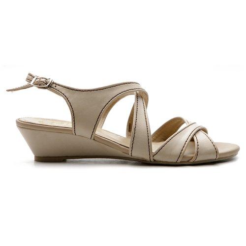 Ollio Women's Cross Strap Low Heel Multi Color Sandal(6.5 B(M) US, Beige)