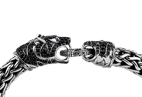 JOHN HARDY LEGENDS MACAN BLACK SAPPHIRE TIGER HEAD SILVER CHAIN BRACELET NEW 64B Size M