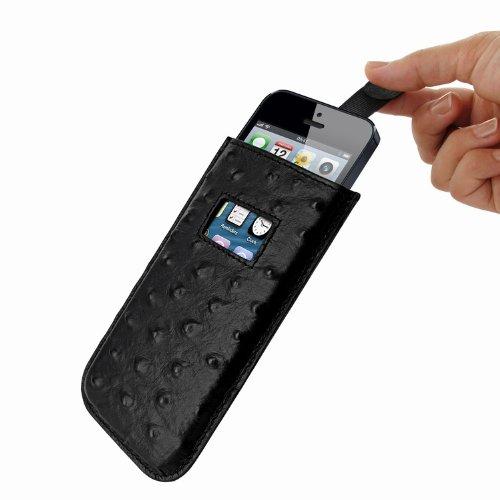 Piel Frama U598AVB Straussen Optik Pull Ledertasche für Apple iPhone 5/5S/5C schwarz