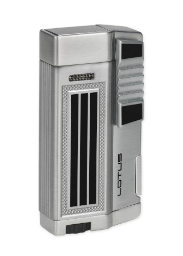 NEW LOTUS DROID L55 TWIN TORCH CIGAR LIGHTER W/PUNCH - CHROME&BLACK