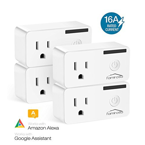 Famirosa Smart Plug Mini Outlet WiFi Socket Compatible with Alexa Echo Google Assistant IFTTT, WiFi Enabled Remote Control Smart Socket with Energy Monitoring, Timer Function, No Hub Required, 4 Pack