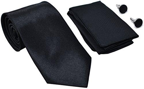 Kingsquare Solid Color Men's Tie, Pocket Square, and Cufflinks matching set (Black)