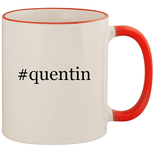#quentin - 11oz Ceramic Colored Handle & Rim Coffee Mug Cup, Red