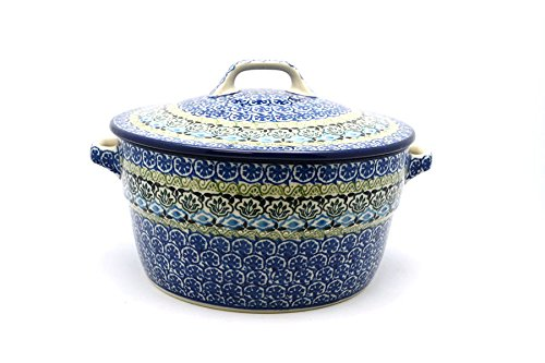 Polish Pottery Covered Casserole (Polish Pottery Baker - Round Covered Casserole - Tranquility)
