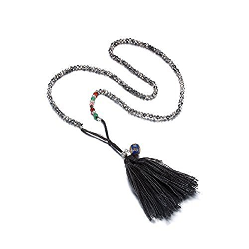 eManco Long Beaded Tassel Pendant Necklace Crystal Cloisonne Black Fashion Statement Jewelry for Women