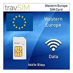 Amazon.com: travSIM Western Europe Prepaid Data SIM Card ...