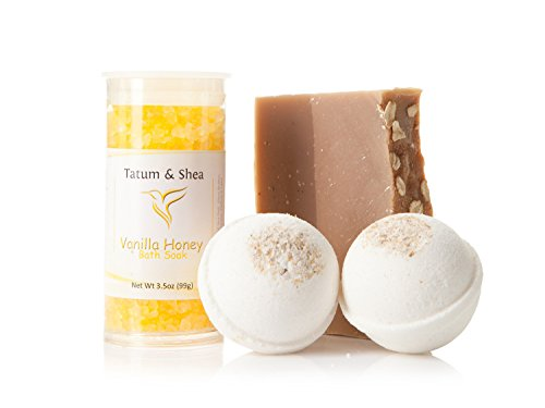 Bath/Spa Gift Set | Natural Handmade Oatmeal Soap Bar, Vanilla Honey Scented Dead Sea Bath Salts, 2 Oatmeal Fizzy Bath Bombs | Gift Boxed | Made in the USA by Tatum & Shea (Oatmeal)