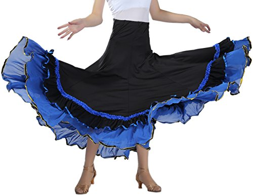 Whitewed Flamenco Ballroom Practice Competition Party Skirt Dress Costume Dancewear Adult