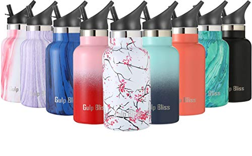 Gold Armour GulpBliss Double Wall Vacuum Insulated Stainless Steel Leak Proof Sports Water Bottle, Narrow Mouth with BPA Free Slip Free (Cherry Blossom, ()