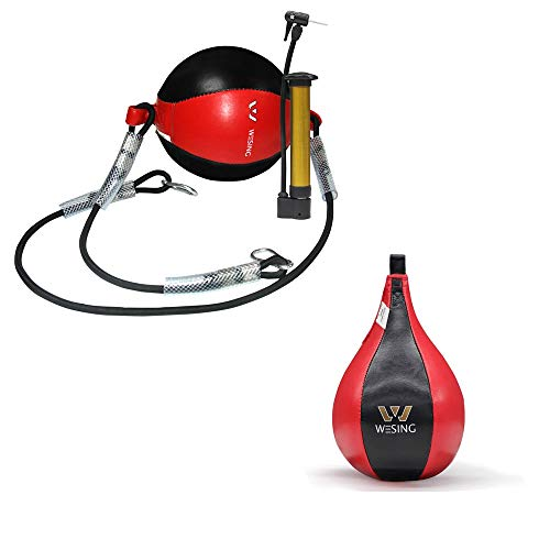 Wesing Boxing Speed Bag MMA Speed Ball Muay Thai Striking Double end Bag for Fitness Training Punching Kicking Fighting