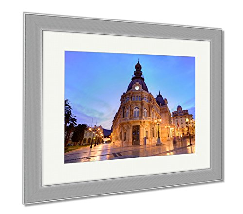 Ashley Framed Prints Ayuntamiento De Cartagena Sunset City Hall At Murcia Spain, Wall Art Home Decoration, Color, 34x40 (frame size), Silver Frame, - Is Cartagena The This Shop