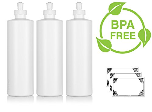 Price comparison product image Large White Refillable Plastic Squeeze Bottle with Push Pull Cap Dispenser 16 oz - (3 Pack) + Labels