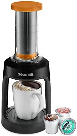 Gourmia GKCP135 Manual Coffee Brewer Single Serve K-Cup Manual Hand French Press Coffee Maker -Brew Coffee Anywhere -Orange