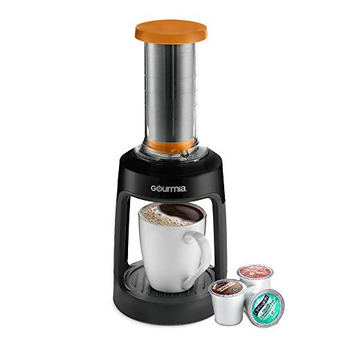 Gourmia GKCP135 Manual Coffee Brewer - Single Serve Manual Hand French Press Coffee Maker - Compatible with K-Cup - No Electricity - Brew Coffee Anywhere - Orange
