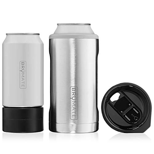 BrüMate HOPSULATOR TRíO 3-in-1 Stainless Steel Insulated Can Cooler, Works With 12 Oz, 16 Oz Cans And As A Pint Glass (Stainless)
