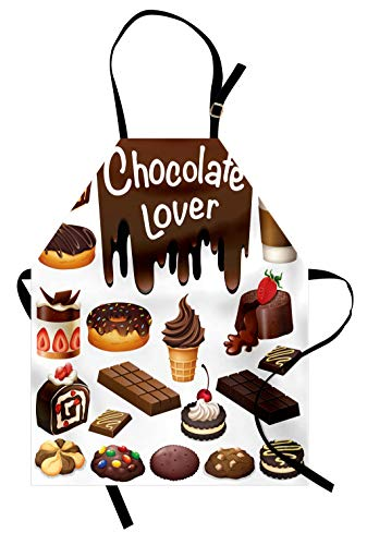 (Lunarable Retro Apron, Chocolate Lover Theme Sweets Creamy Cakes Deserts Pattern Ice Cream Retro Design, Unisex Kitchen Bib Apron with Adjustable Neck for Cooking Baking Gardening, Brown White)