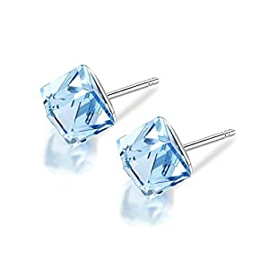 Lesa Michele Cube Earring in Stainless Steel made with Swarovski Crystals (Color Variations)