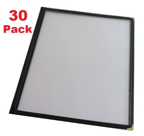 (30 Pack) Double Fold Menu Cover (4 View), 8.5'' x 11''Restaurant Quality (Black)