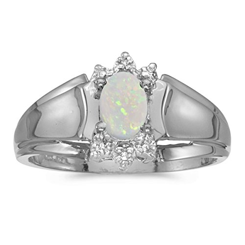 - 0.19 Carat (ctw) 14k White Gold Oval White Opal and Diamond Accent Anniversary Fashion Ring (6 x 4 MM) - Size 6.5