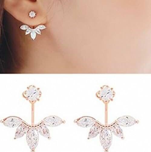 megko Fashion Lady Clear Crystal Leaf Feather Ear Jacket Earrings Back Ear Cuffs Stud Earring