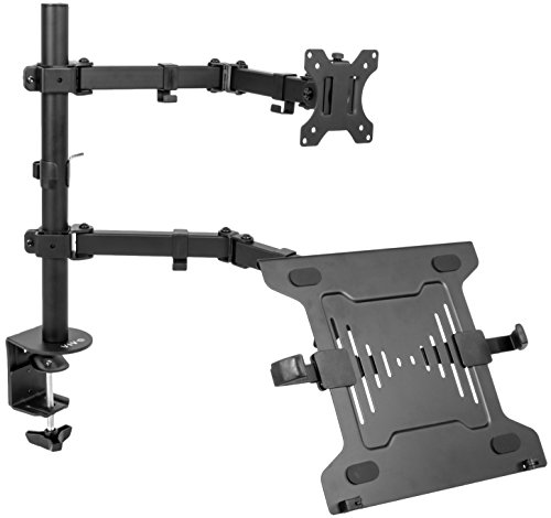 VIVO Full Motion Monitor + Laptop Desk Mount Articulating Double Center Arm Joint VESA Stand | Fits 13