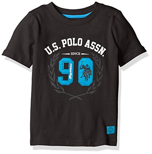 U.S. Polo Assn. Boys' Crew Neck Iconic Graphic Logo T-Shirt,Black H5HD10BKV,5/6 Kids Graphic Polo