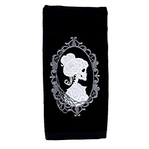 Haunted Mansion Hers Skeleton Halloween Hand Towel Kitchen and Bath Gothic Home Decor 41Yf A5d8kL