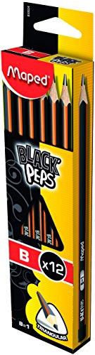 Maped 850024 B Negro'S Lápices Peps grafito (paquete de 12)