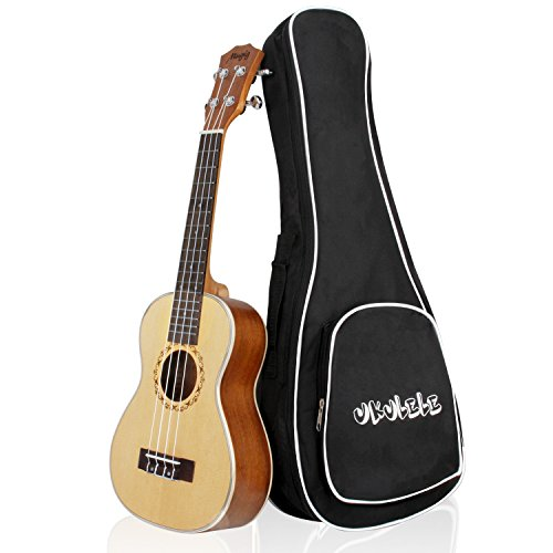 Mugig Concert Ukulele 23 Inches 4 Strings Spruce Top Panel Rosewood Fretboard Silver Geared Tuners Instrument for Beginners and Advanced