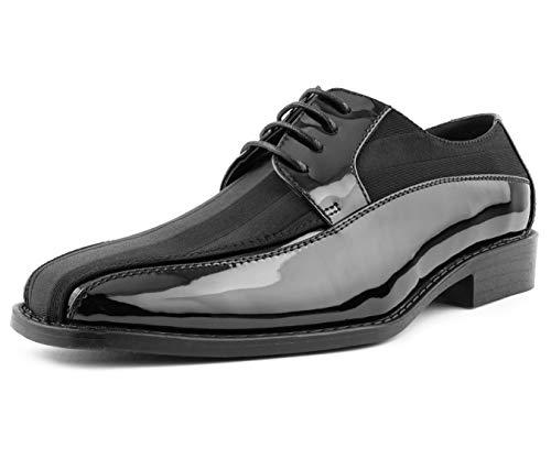 - Amali Men's Lace Up Tuxedo Oxford with Statin Striped Design Oxford Dress Shoe, Style Avant Black