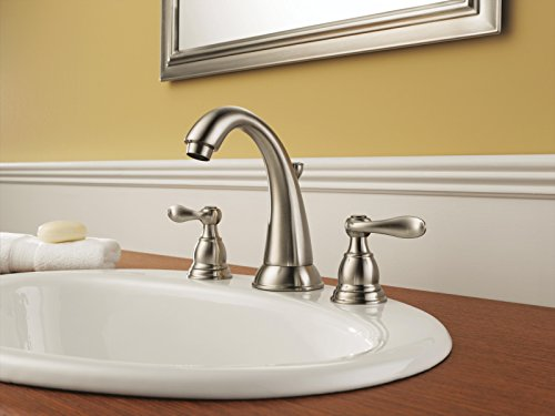 Delta Faucet Windemere 2-Handle Widespread Bathroom Faucet with Metal Drain Assembly, Stainless B3596LF-SS